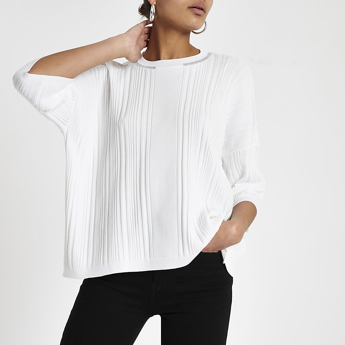 T Wit Knitwear Oversized Ronde Dames Tops Gebreide Shirt Hals Met j34RAq5L