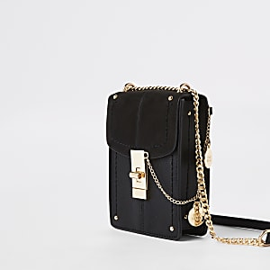 Black twist lock cross body bag