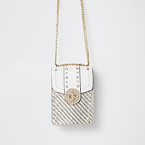 White embellished lock cross body bag