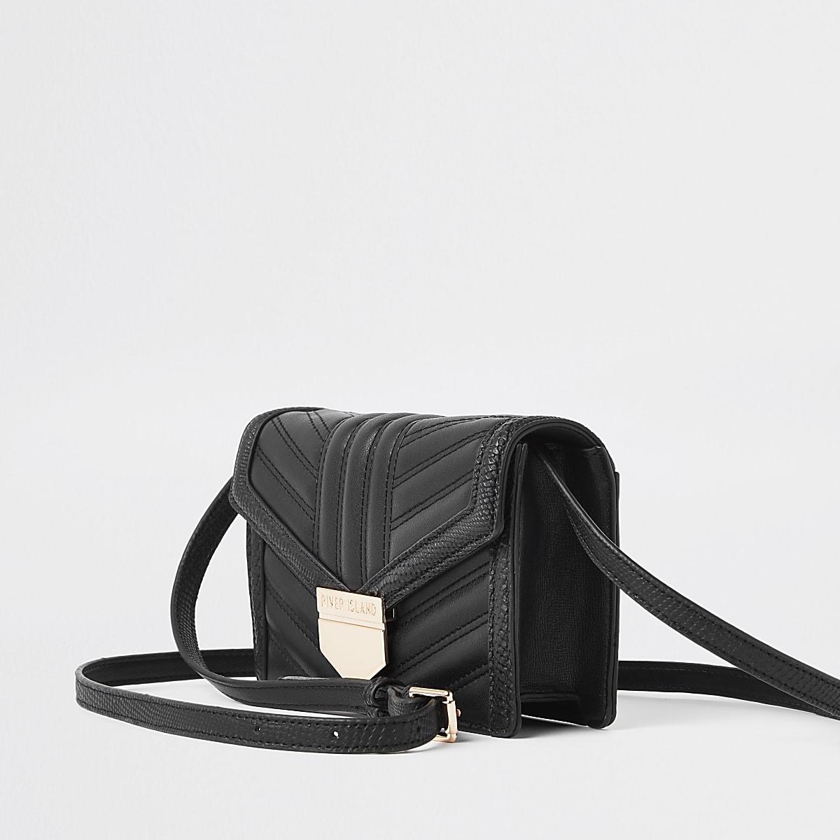 Mini sac bandoulière noir matelassé