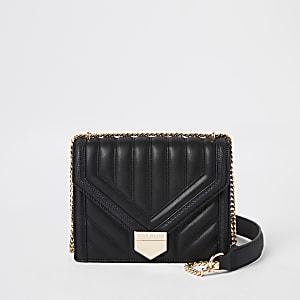 Zwarte doorgestikte crossbodytas met handvat