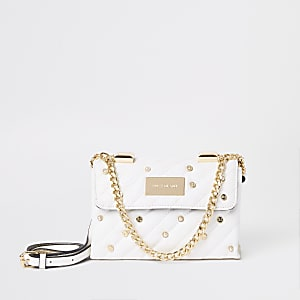 White quilted embellished cross body bag