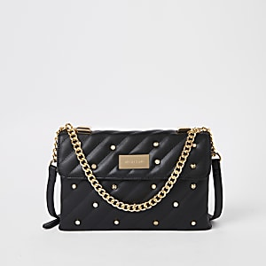 Black quilted embellished cross body bag