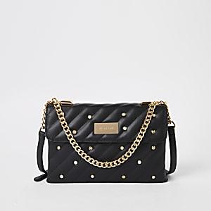 Black quilted embellished cross body bag