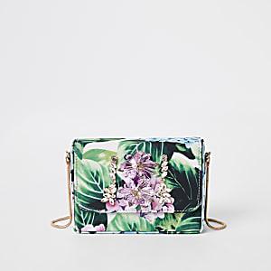Mini sac bandoulière vert carré orné