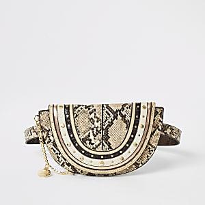 Beige snake print belt bag