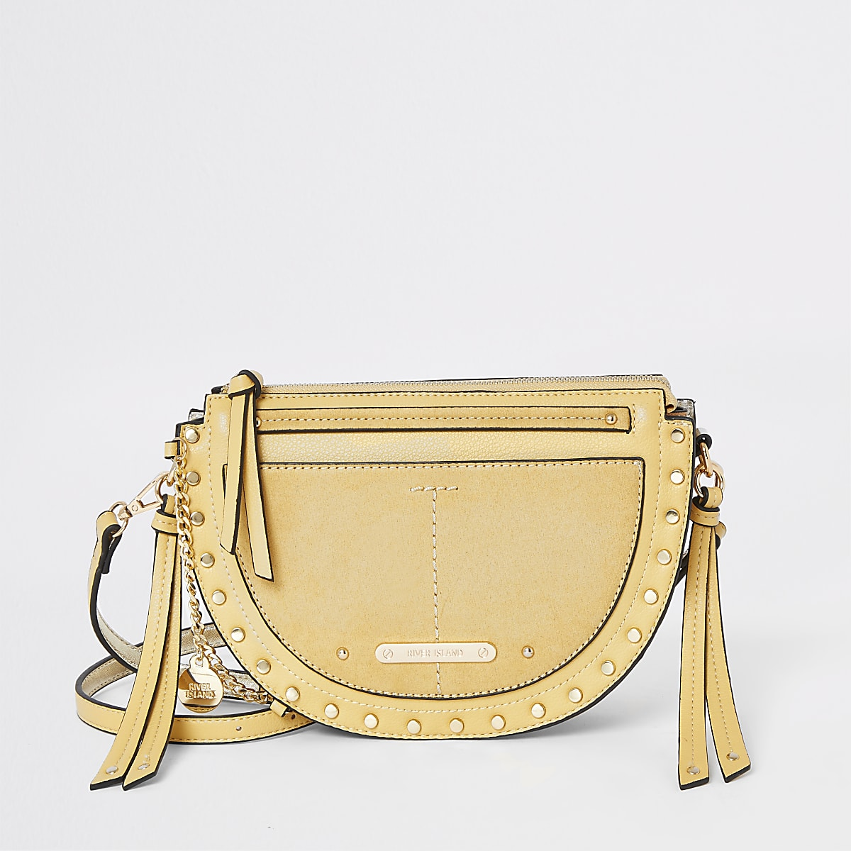 Yellow studded cross body bag