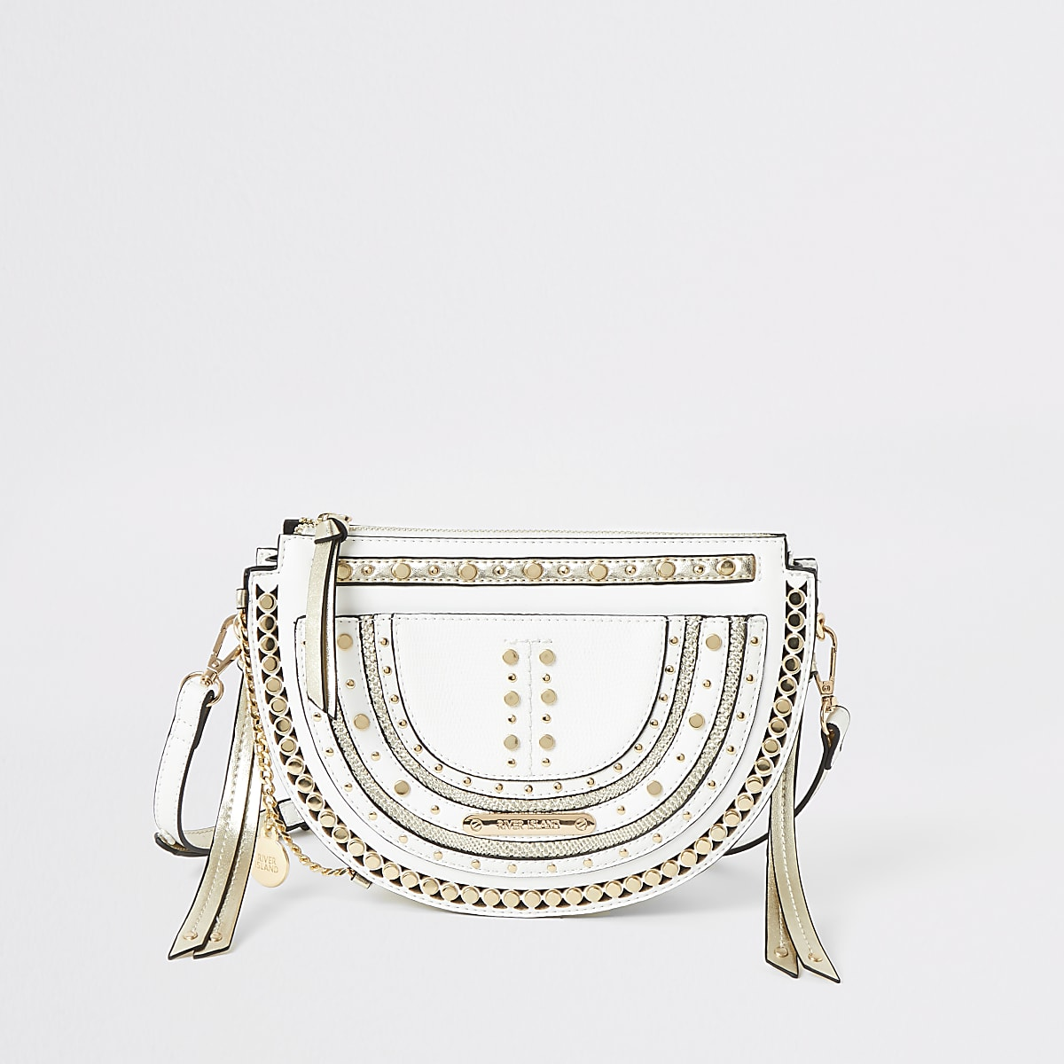 White stud embellished cross body bag
