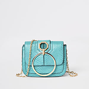 Bright green ring front cross body bag