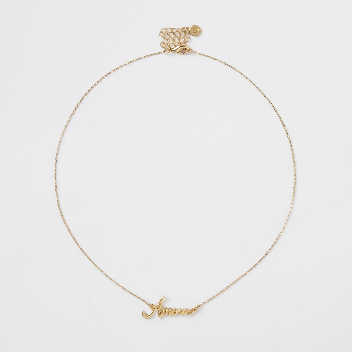 Gold plated 'Amour' pendant necklace