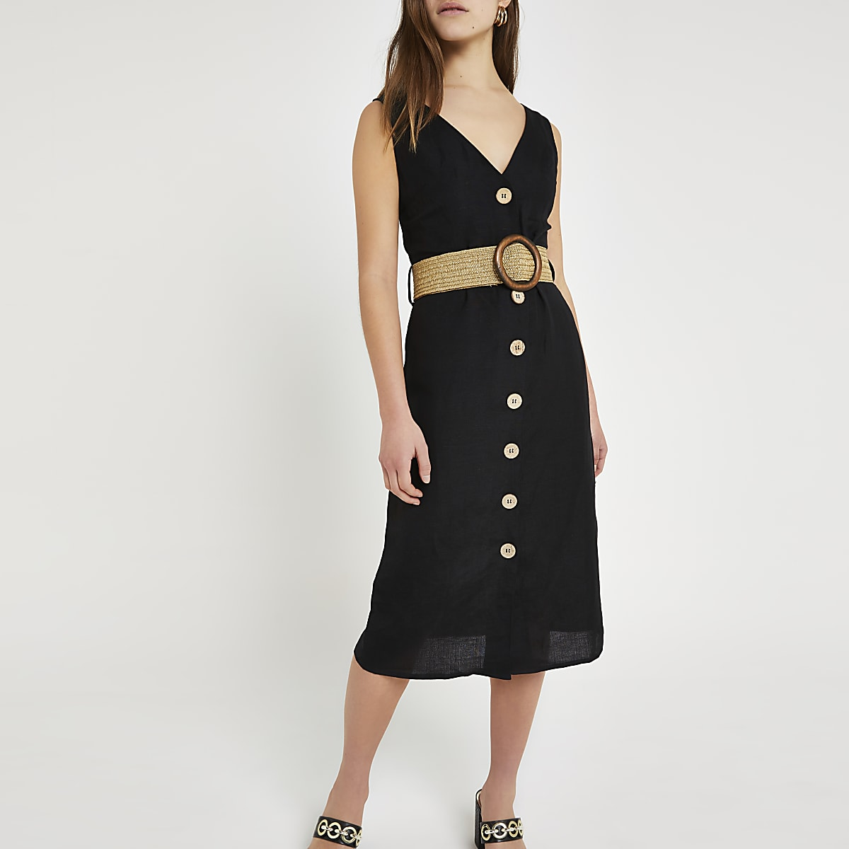 Petite black belted linen midi dress