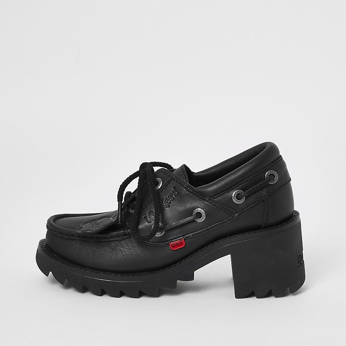 Kickers - Zwarte loafers met hak en veters