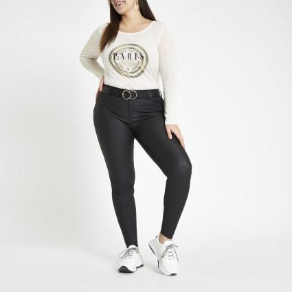 Plus white 'Paris' print long sleeve T-shirt