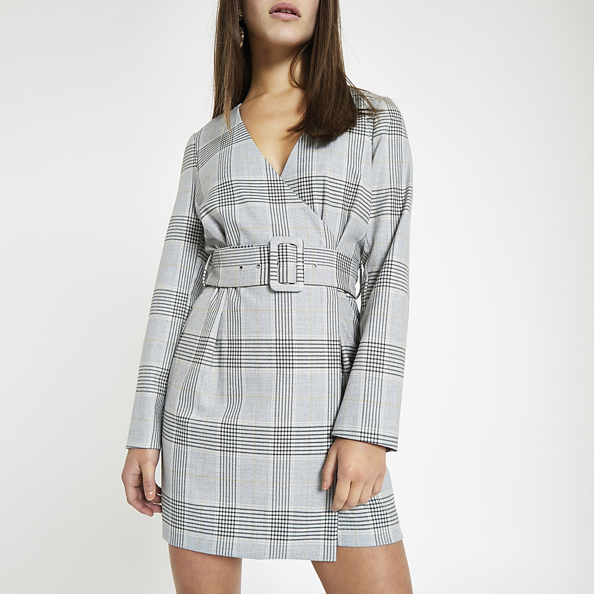 Petite grey check belted wrap dress