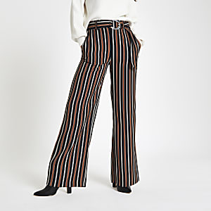 Petite brown stripe print trousers