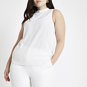 Plus white sequin embellished top