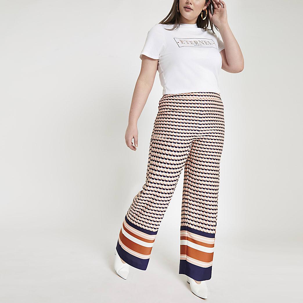 Plus pink geo print wide leg trousers
