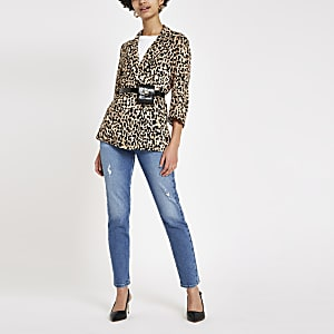Brown leopard print blazer