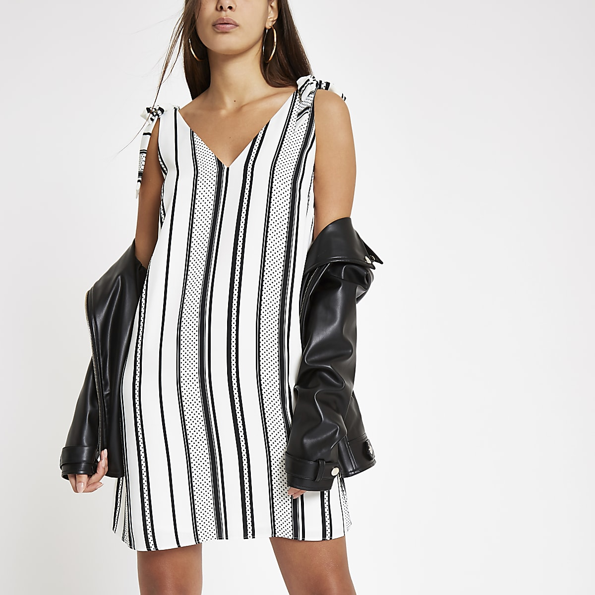 Cream stripe V neck slip dress