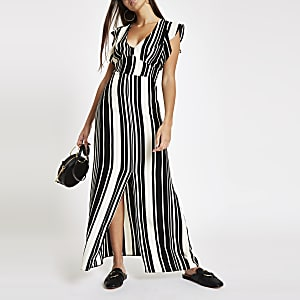 Black stripe split front dress
