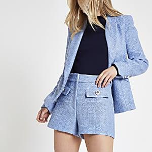 Blauwe short met knoopdetail