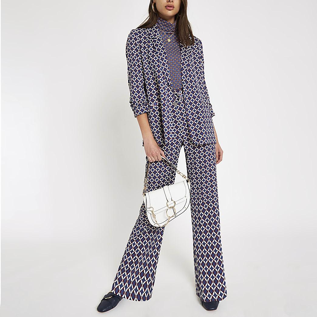 Blue print D-ring wide leg trousers