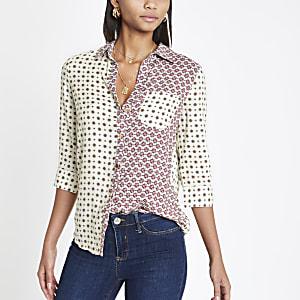Crème overhemd met tegelprint