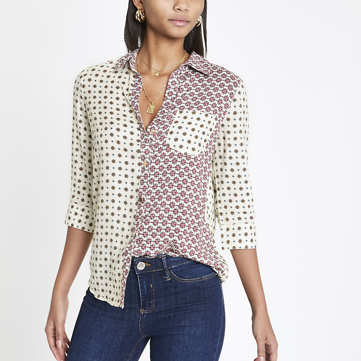 Cream tile print shirt