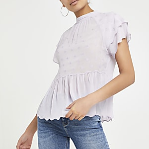 Light purple spot smock top