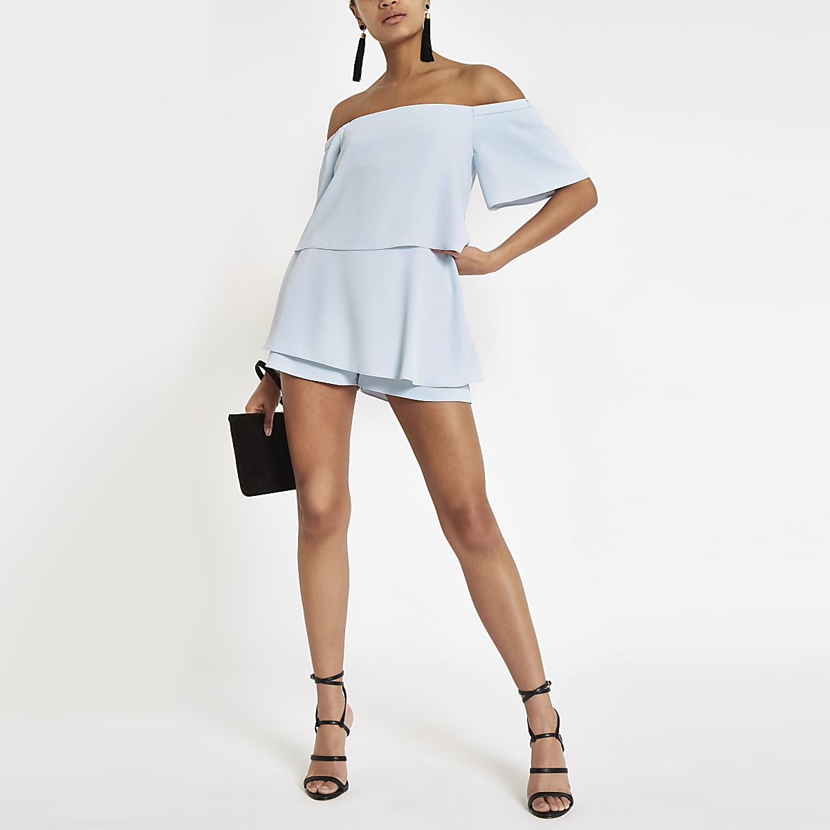 Light blue bardot playsuit