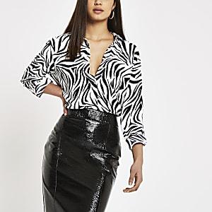 Black zebra print long sleeve shirt