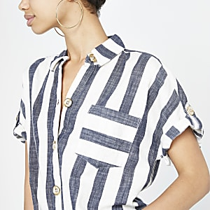 Blue stripe tie front short sleeve shirt