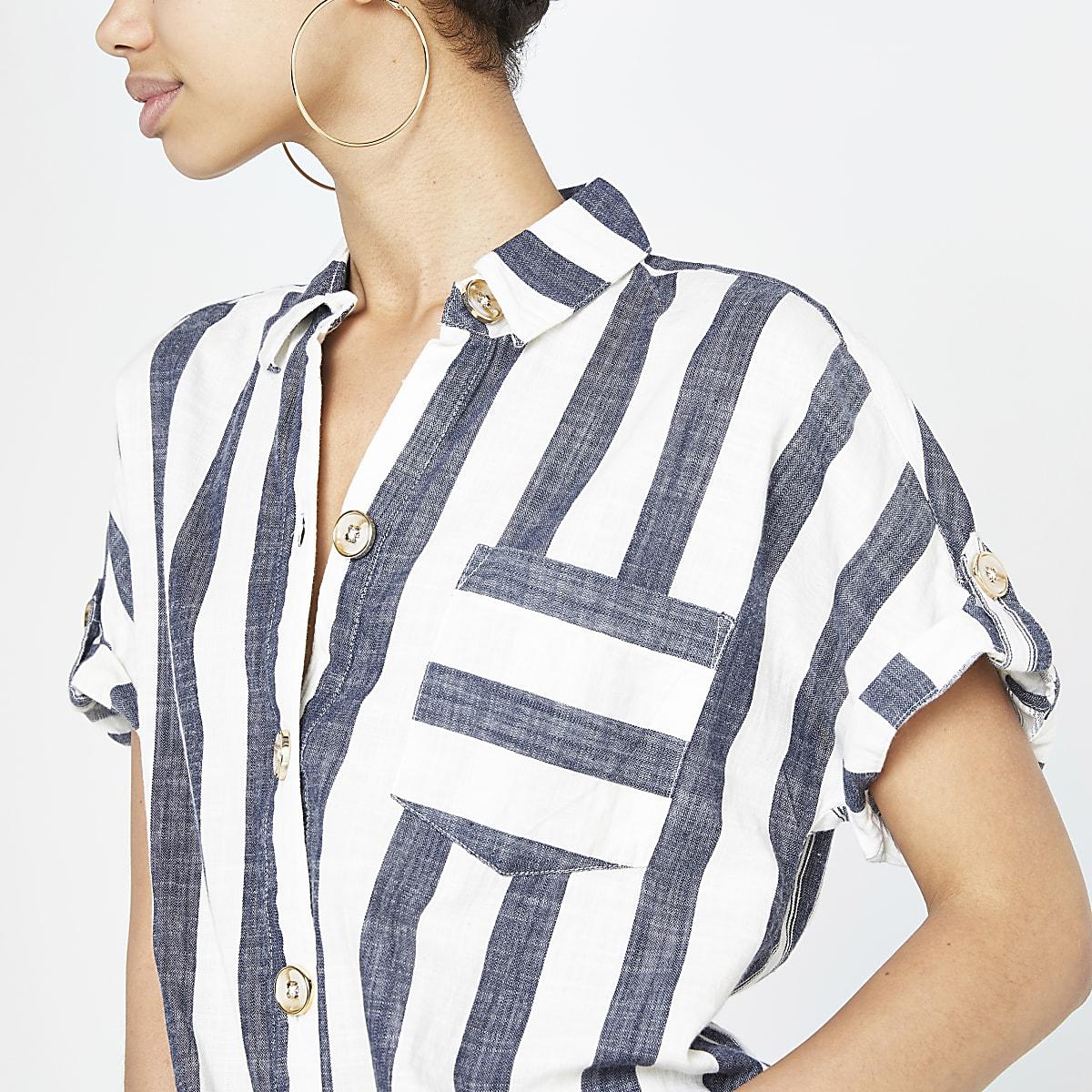 28a81c9c Blue stripe tie front short sleeve shirt - Shirts - Tops - women