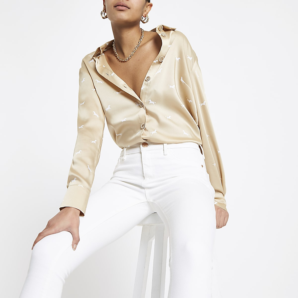 Beige printed satin blouse