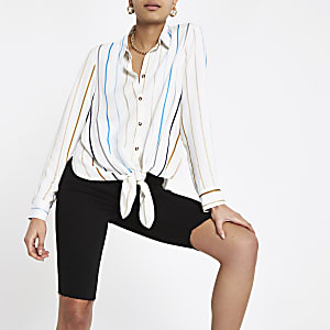 White stripe tie front shirt