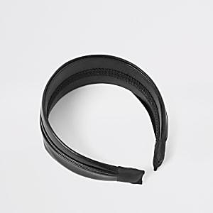 Zwarte geplooide haarband