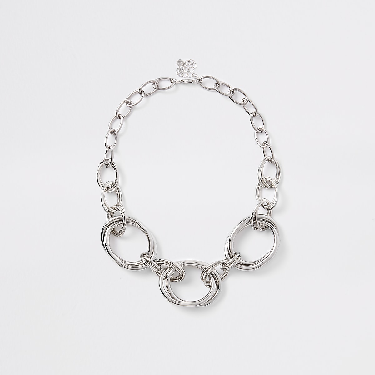 Silver colour chunky circle necklace