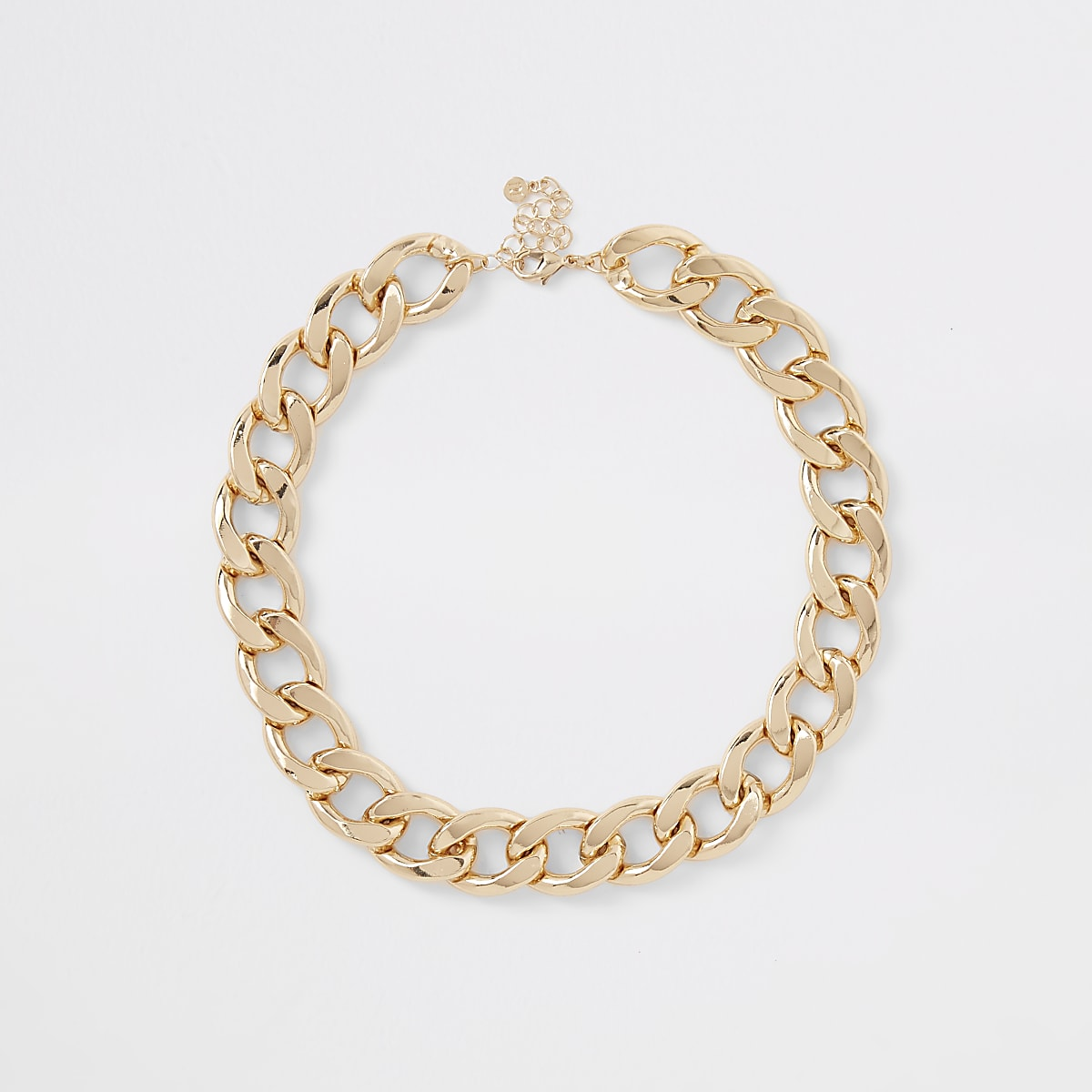 Gold color chunky curb chain necklace