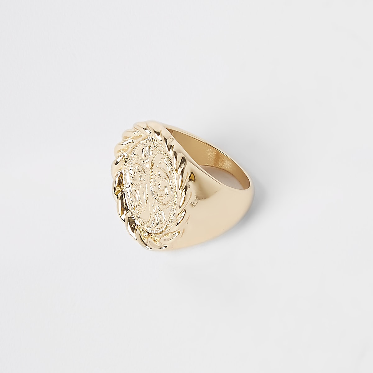 Gold colour signet ring
