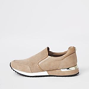 Beige faux suede runner sneakers