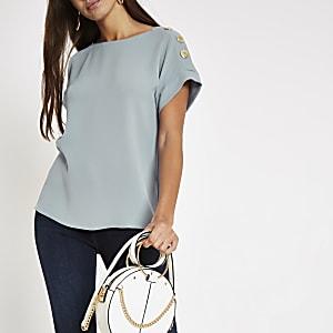 T-shirt ample bleu à bouton