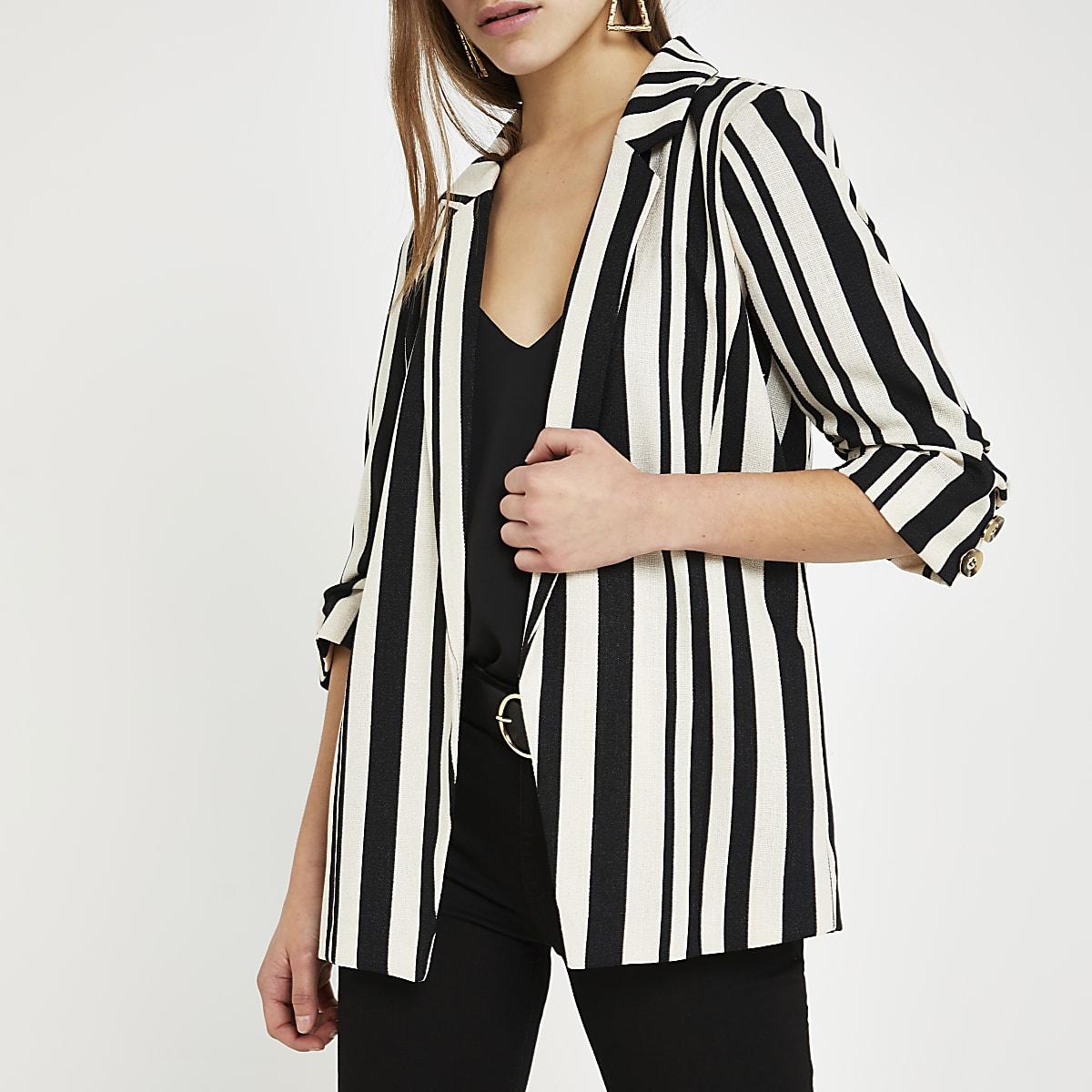 Petite black stripe ruched sleeve blazer
