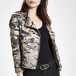 10d18d2cc72 Khaki faux suede camo biker jacket