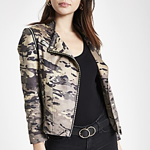 Khaki faux suede camo biker jacket
