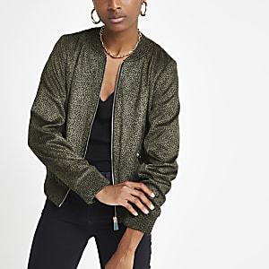 Khaki leopard print bomber jacket