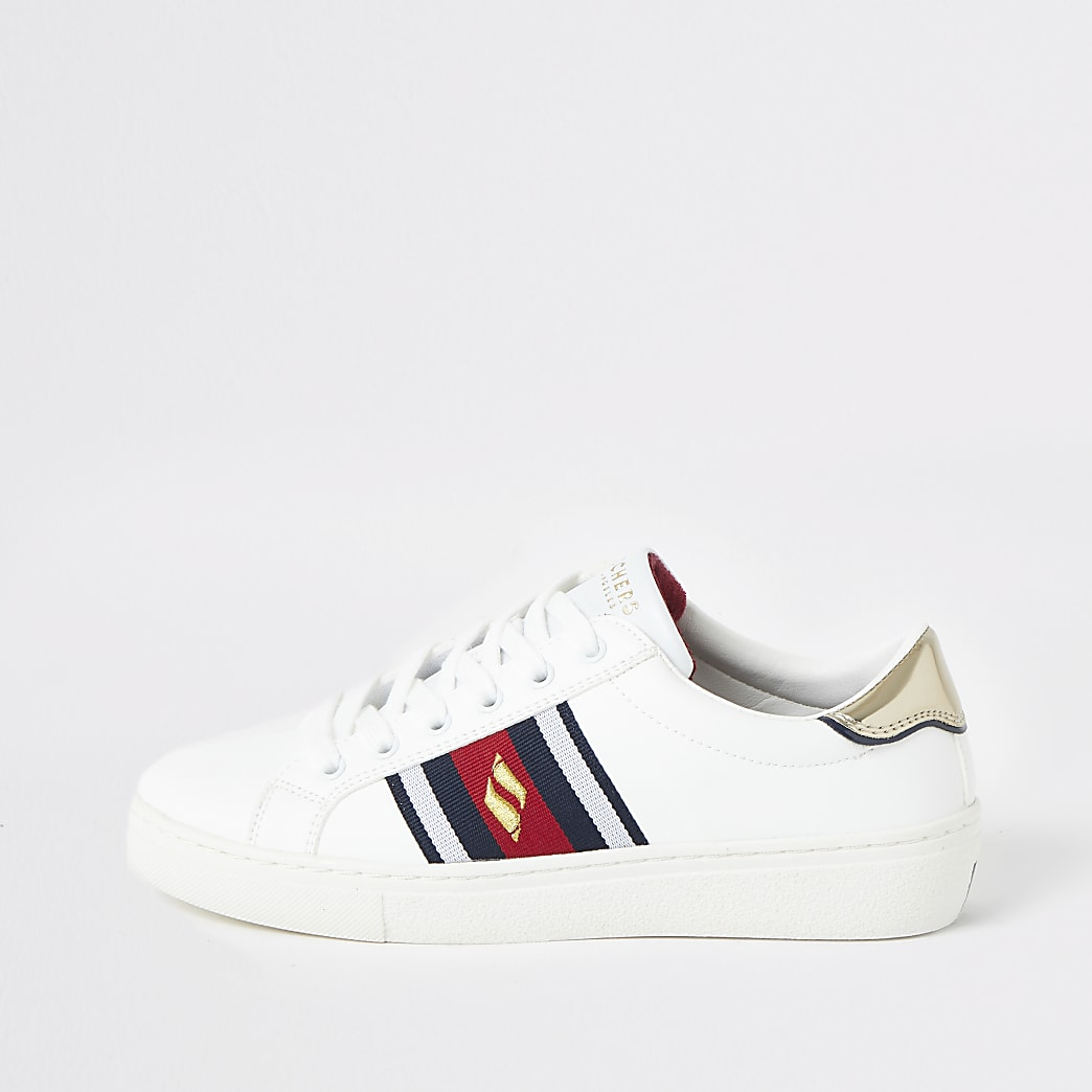 Skechers white Goldie striped trainers