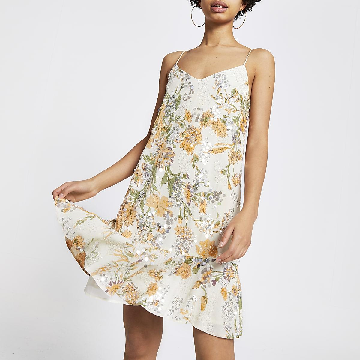 Yellow sequin embellished slip dress