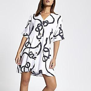 Weißes Swing-Kleid mit Print