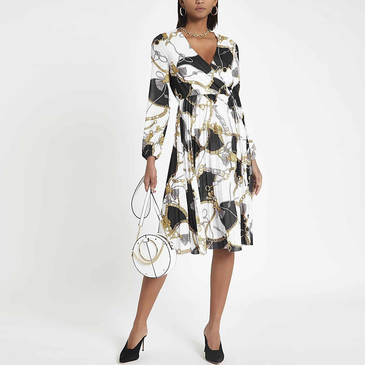 White Print Pleated White Print Chain Chain Dress 7yvgYbf6