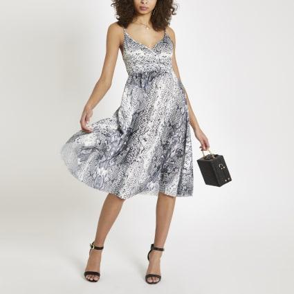 Grey snake print wrap pleated dress